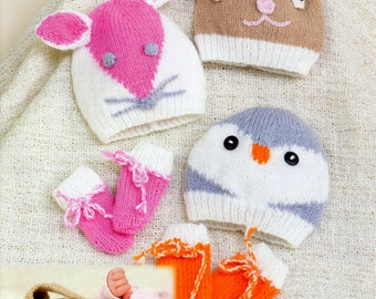 Instant Download - PDF Knitting Pattern - Animal Styles of Baby Hats and Mittens - Penguin, Rabbit &  Mouse