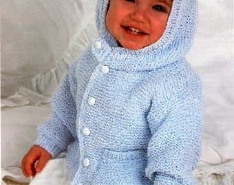PDF Knitting Pattern for Hooded Anorak Jacket/Cardigan to fit Chest sizes 18 to 26 Inches - Instant Download