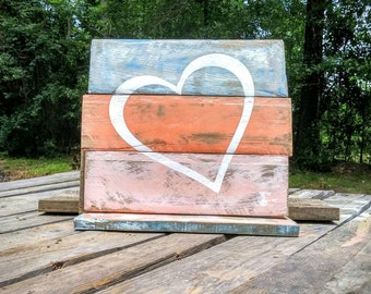 Shabby chic heart beach sign, distressed wood sign, rustic wooden sign, rustic heart decor, distressed wall hanging, heart theme decor, art
