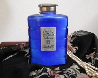 Vintage Evening in Paris Talc Bourjois EIP antique French fragrance cobalt blue