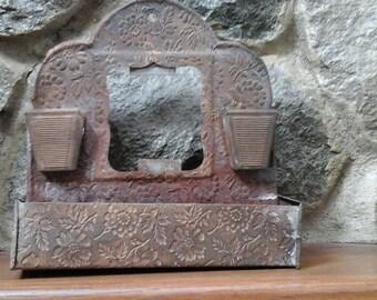 Antique Match holder Embossed Tin Vintage kitchen item Very Old