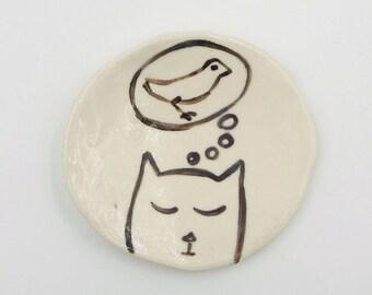 Cat Pottery Dish Small Ceramic Bird Dish Handmade
