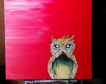 OWL - Acrylic painting-