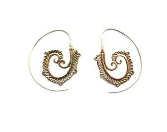 Spiral Earrings- Brass Earrings- Gypsy Spirals- Brass Jewelry