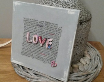 LOVE - Handmade Unique Scripture and Inspirational Plaques Made with Re-purposed Paper, Chalk Paint and Decoupage
