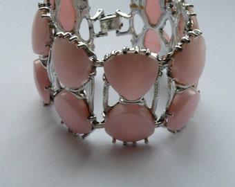 Vintage Pink Stone Set Costume Bracelet