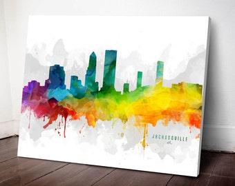 Jacksonville Skyline Canvas,  Jacksonville Print, Jacksonville Art, Jacksonville Gift, Jacksonville Cityscape, MMR-USFLJA05C