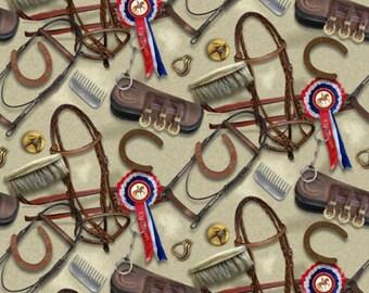 SPX Fabrics - World of Horses 25324-BEI1, 44-inch Wide Cotton Fabric Yardage