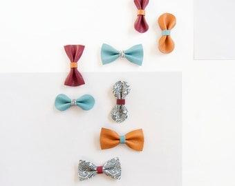 Autumn Hair Bow Crocodile Clip/Nylon Spring Headband, Leather Bow, Oak Cranberry Bow, Little Girl Bow, Mini Bow, Hair Accessory Baby Bow