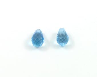 6x4 mm Briolette Top Drilled Swiss Blue Topaz Stones