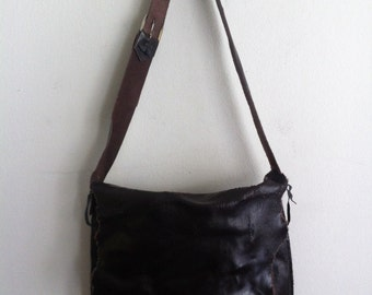 Men's handmade crossbody bag, for real men, cracked and old leather, real vintage, dark brown color, size: medium