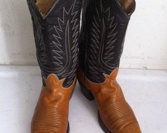 Orange old leather vestern cowboy boots, men's size 7 1/2.