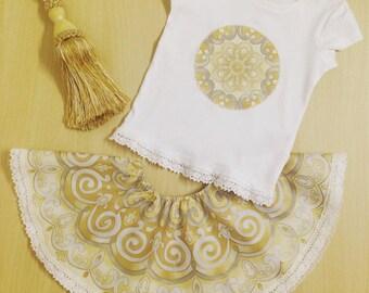 Gold Print Skirt & T-Shirt Set