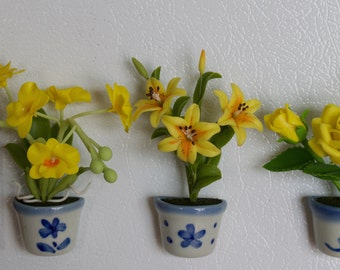 Yellow Flower set of 3 - Flower Refrigerator Magnet Handmade