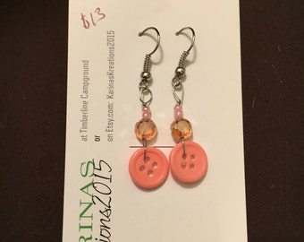 Coral Pink Button Earrings