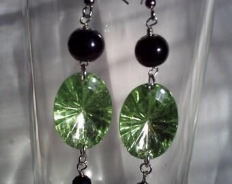 green sparkle earrings