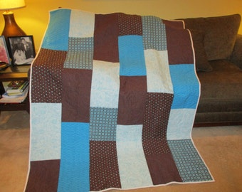 quilted throw, bed comforter, handmade quilt, bed size quilt, brown and blue, machine quilted