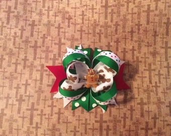 Gingerbread Stacked Hair bow