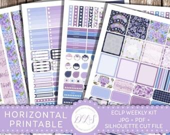 Printable Planner Stickers, Horizontal Planner Kit, Weekly Kit Printable, ECLP Horizontal, Floral Planner, Spring Planner Stickers, HS101