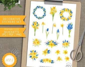 Decorative Floral Planner Stickers Scrapbook Invitation Summer Planner Bright Yellow Blue Daffodil Muscari Flowers Printable Silhouette File