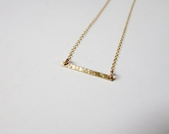 Delicate Hammered Gold Bar Necklace
