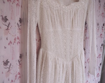 Sweet simple home made 40's dress, lovely embroidered net fabric, and beaded lace trim, size 8 approx