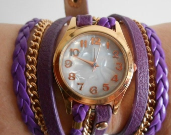Watch Fashion and Casual 2016 cuff bracelet purple