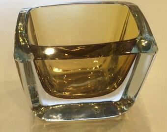 Signed Swedish art glass crystal vase by Strombergshyttan