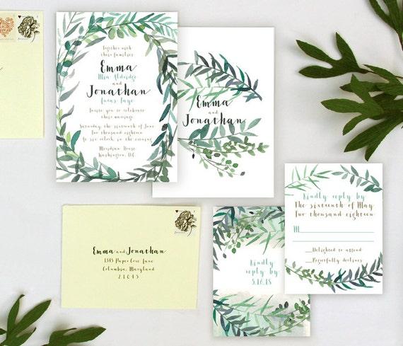 Outdoor Wedding Invitations: Leafy Garden Wedding Invitation Sample
