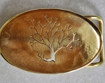 "Handmade belt buckle ""AUTUMN"" in brass"