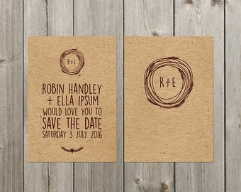 DIY Customisable Wedding Stationery  - Save the Date - Rustic - Kraft Paper