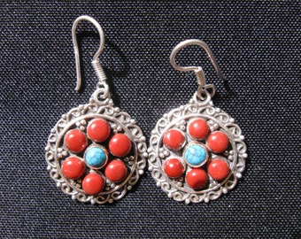 Sterling silver, turquoise and coral earrings