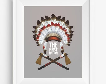 The First Nation,Indian headdress with two tomahawks,tribal design ,boho style,digital prints