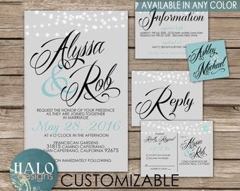 Classic Wedding Invitations Grey - Invitation, RSVP postcard, Info card, Printable