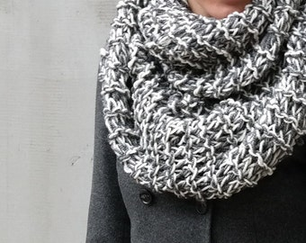 White grey circle long scarf, Chunky crochet winter cowl large scarf,  unique fashion scarves, wool neck warmer, fashion accessories