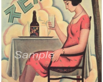 Vintage Calpis Beverage Japanese Advertising Poster Print