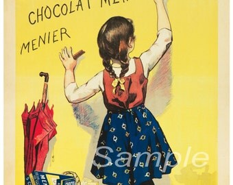 Vintage Chocolat Menier French Advertising Poster Print