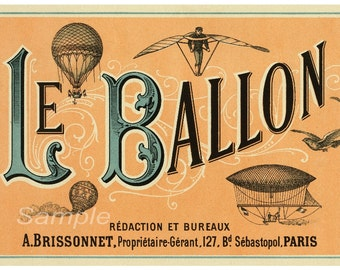 LB02 Vintage Le Ballon Hot Air Balloon Advertising Poster Print