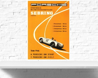 Vintage Porsche Sebring Motor Racing Poster Print