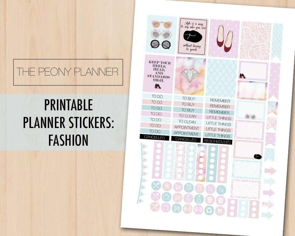 FASHION ACCESSORIES Printable Planner Stickers