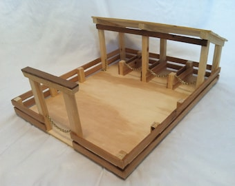 Handmade Wooden Toy Stable and Pasture Area