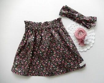 Girls Size 2 Paper bag Skirt, High waisted Skirt, Paperbag, Floral Skirt
