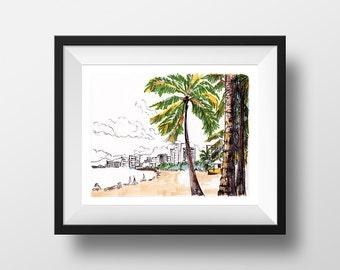 Honolulu - illustration - giclee print
