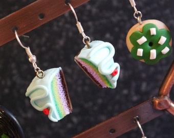 Rainbow cake slice/hook earrings