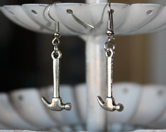 Silver Hammer Dangle Earrings
