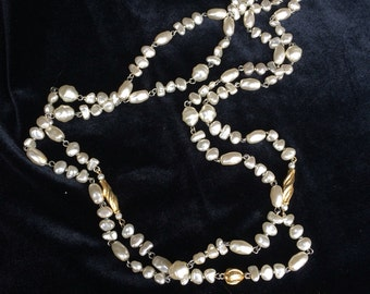 Double strand long faux pearl necklace