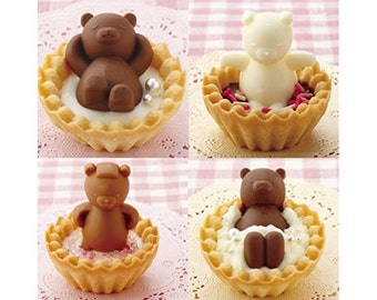 Bear Silicone Mold  Bear in Ofuro Bath Silicone Tray for  Cookie Tarts or Cupcake - TOPPERS Moulds DL-8022
