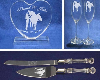 Western Cowboy Cowgirl Horse Wedding Cake Topper Glasses Knife Set