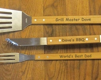 BBQ Set personalized Engraved Barbeque Grilling Tools - great gift for fathers day birthday Christmas groomsman