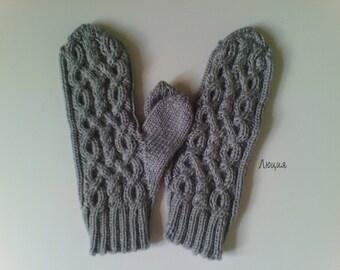 "Hand knitted Mittens ""Braids""."